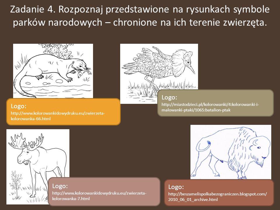 Zadanie 4. Rozpoznaj przedstawione na rysunkach symbole parków narodowych – chronione na ich terenie zwierzęta.