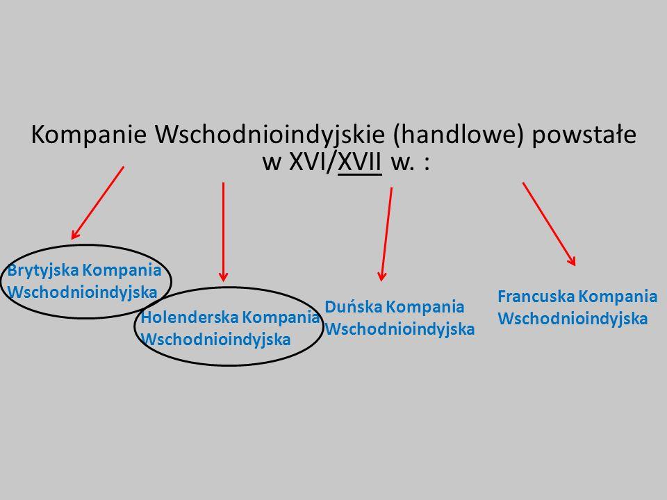 Kompanie Wschodnioindyjskie (handlowe) powstałe w XVI/XVII w. :