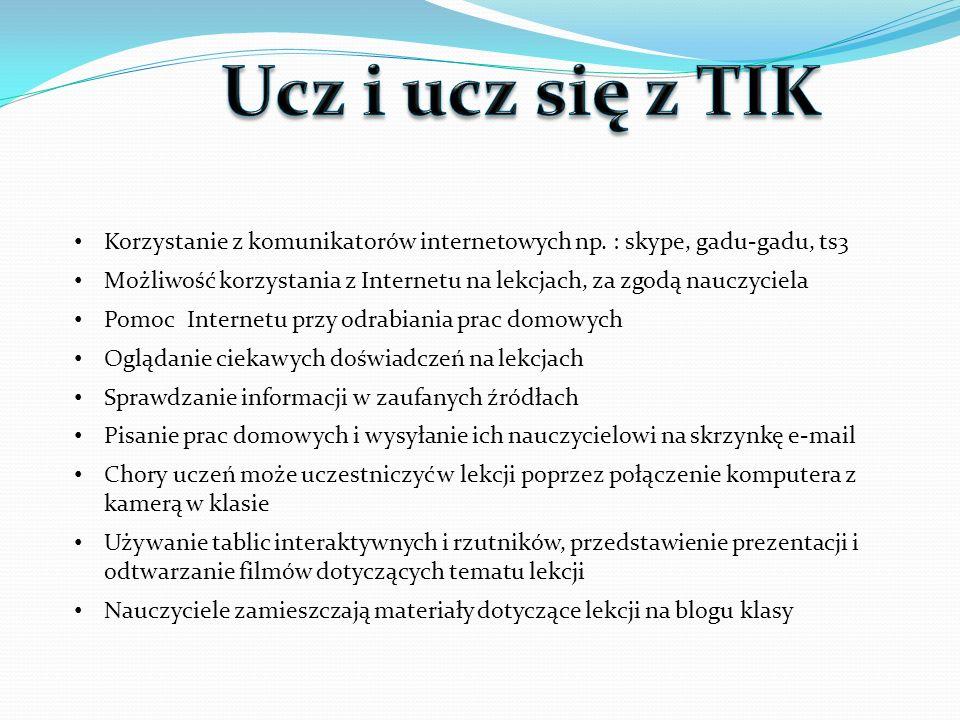 Ucz i ucz się z TIK Korzystanie z komunikatorów internetowych np. : skype, gadu-gadu, ts3.
