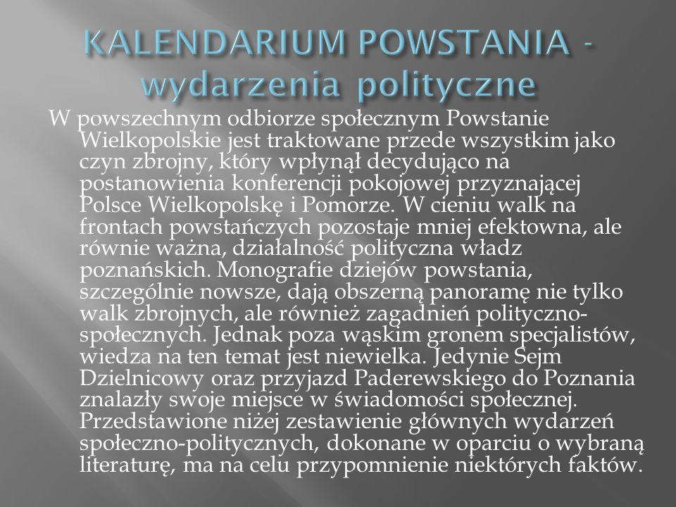 KALENDARIUM POWSTANIA - wydarzenia polityczne
