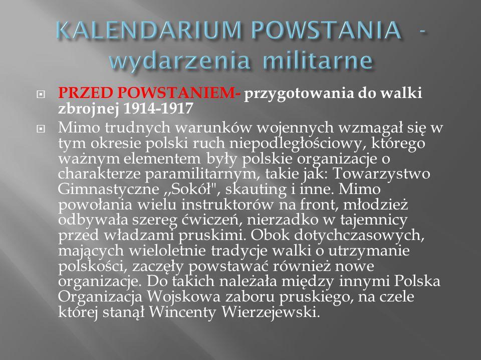 KALENDARIUM POWSTANIA - wydarzenia militarne