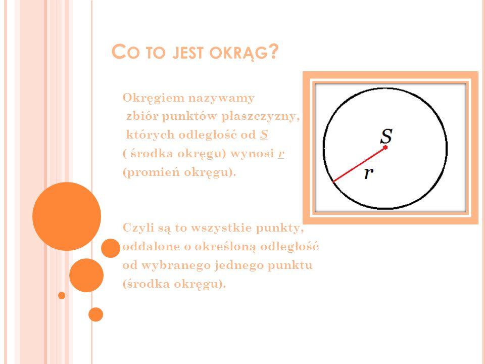 Co to jest okrąg Okręgiem nazywamy zbiór punktów płaszczyzny,