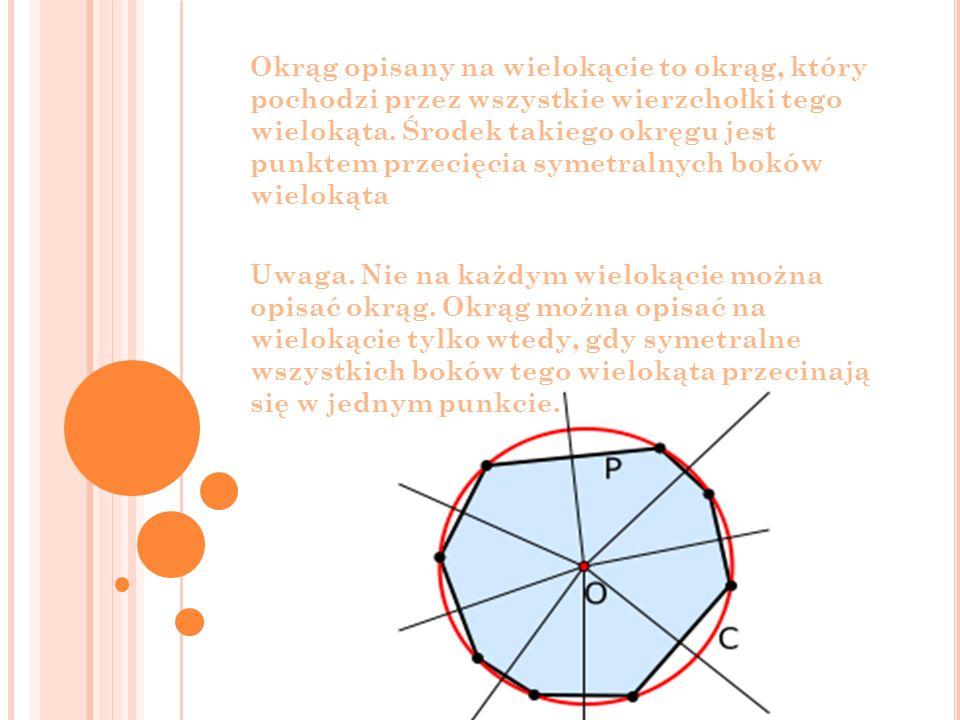 Okrąg opisany na wielokącie to okrąg, który pochodzi przez wszystkie wierzchołki tego wielokąta. Środek takiego okręgu jest punktem przecięcia symetralnych boków wielokąta
