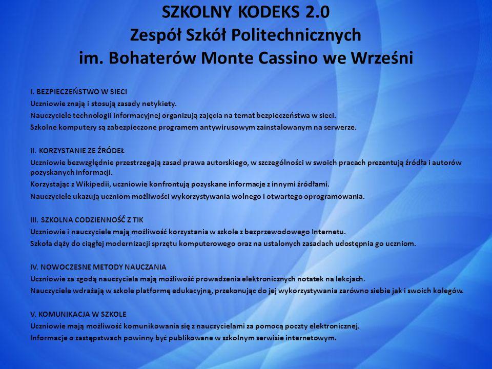 SZKOLNY KODEKS 2. 0 Zespół Szkół Politechnicznych im