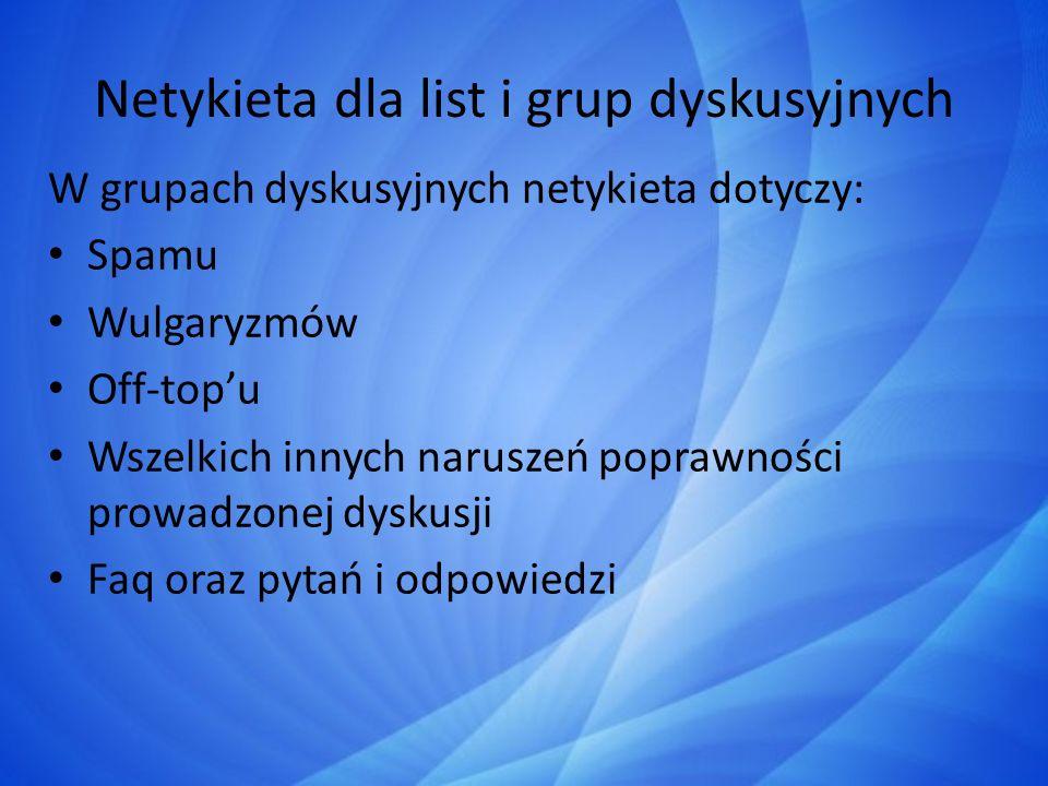 Netykieta dla list i grup dyskusyjnych