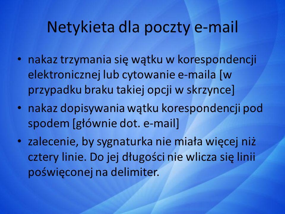 Netykieta dla poczty e-mail