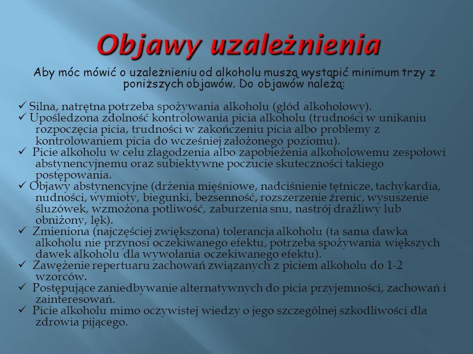 Objawy uzależnienia Aby móc mówić o uzależnieniu od alkoholu muszą wystąpić minimum trzy z poniższych objawów. Do objawów należą: