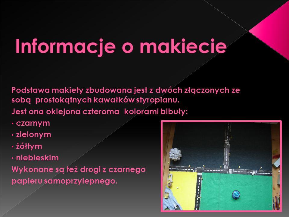 Informacje o makiecie Podstawa makiety zbudowana jest z dwóch złączonych ze sobą prostokątnych kawałków styropianu.