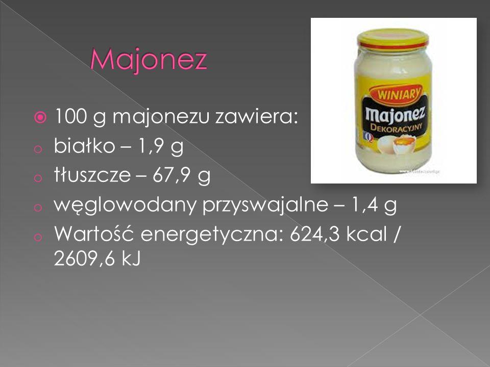 Majonez 100 g majonezu zawiera: białko – 1,9 g tłuszcze – 67,9 g