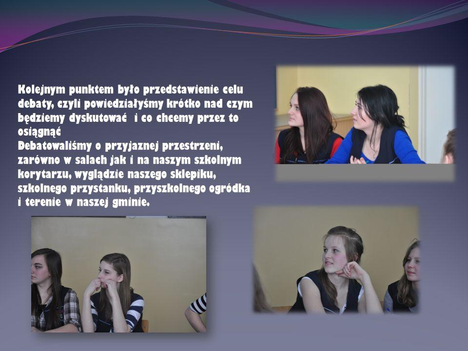 Kolejnym punktem było przedstawienie celu debaty, czyli powiedziałyśmy krótko nad czym będziemy dyskutować i co chcemy przez to osiągnąć