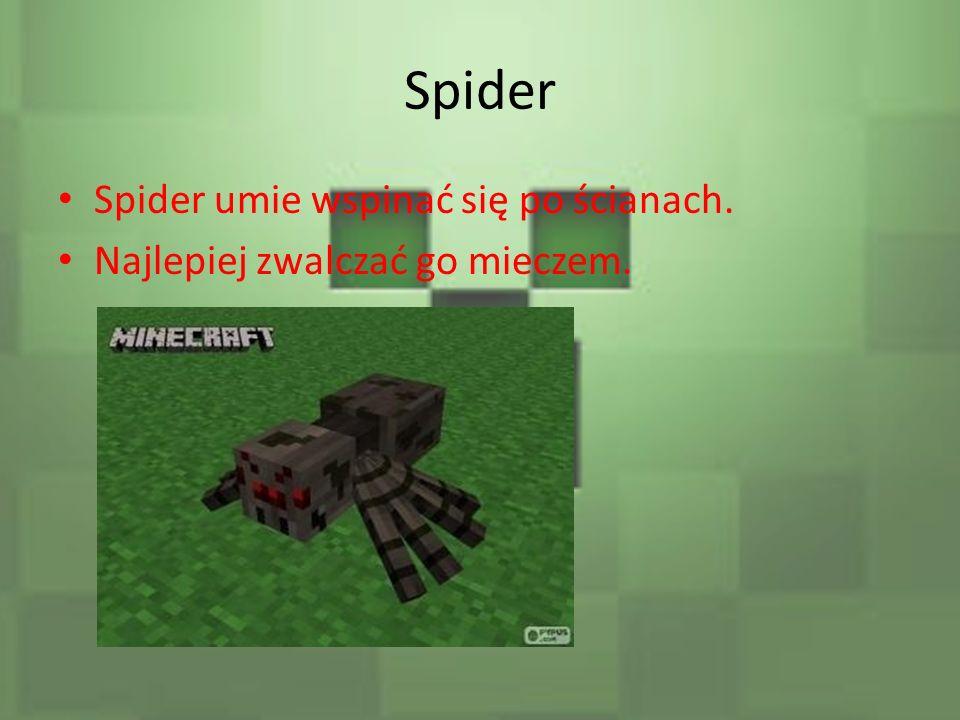 Spider Spider umie wspinać się po ścianach.