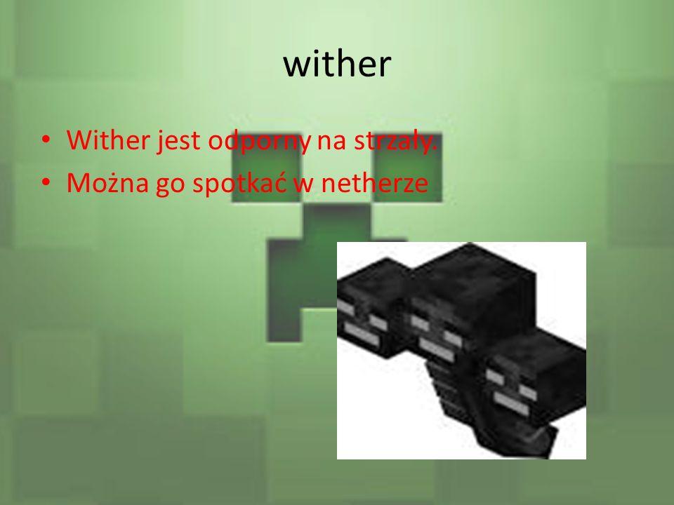 wither Wither jest odporny na strzały. Można go spotkać w netherze