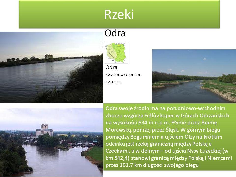 Rzeki Odra Odra zaznaczona na czarno
