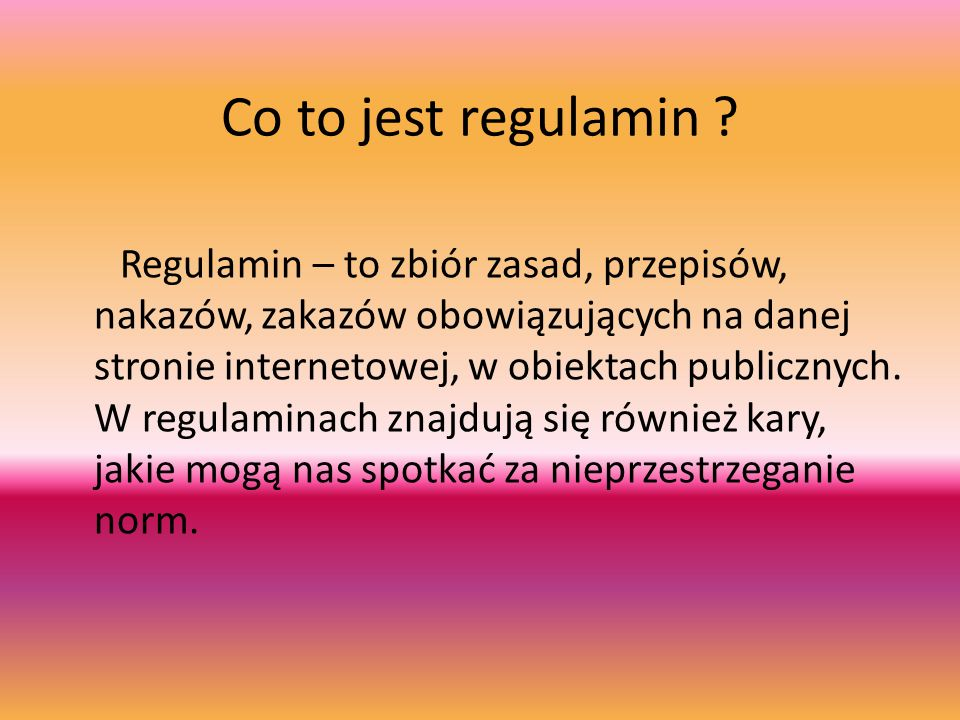 Co to jest regulamin