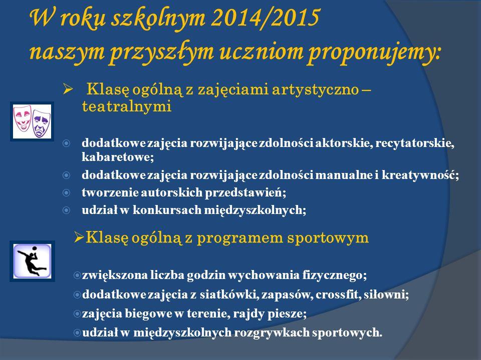 W roku szkolnym 2014/2015 naszym przyszłym uczniom proponujemy: