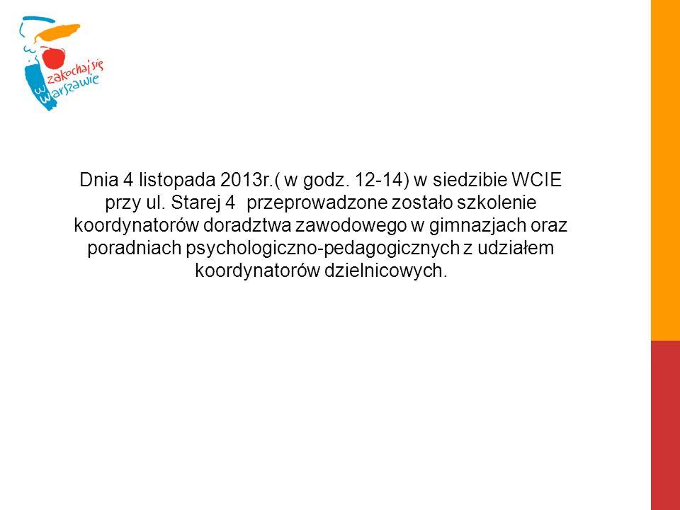 Dnia 4 listopada 2013r. ( w godz. 12-14) w siedzibie WCIE przy ul