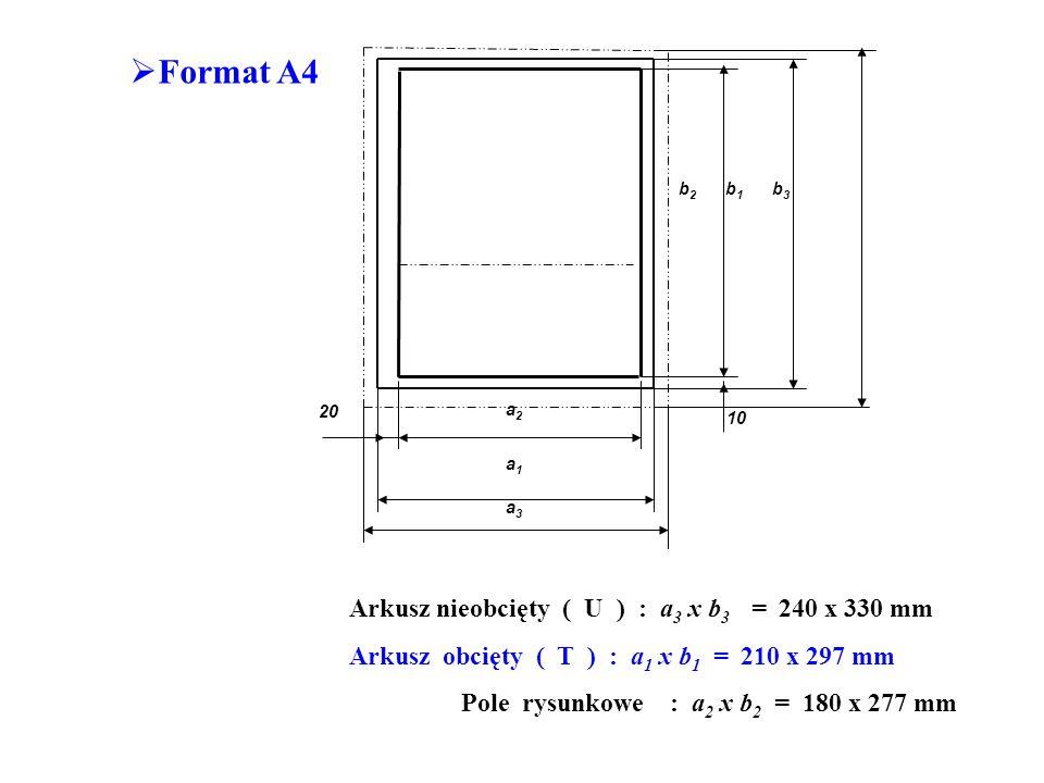 Format A4 Arkusz nieobcięty ( U ) : a3 x b3 = 240 x 330 mm