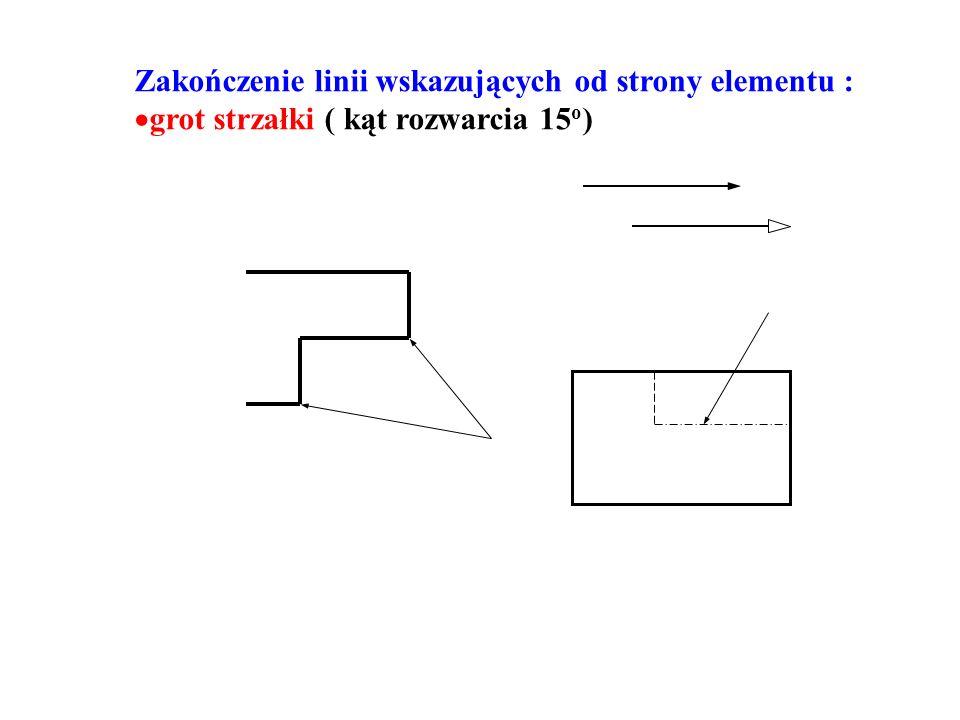 Zakończenie linii wskazujących od strony elementu :