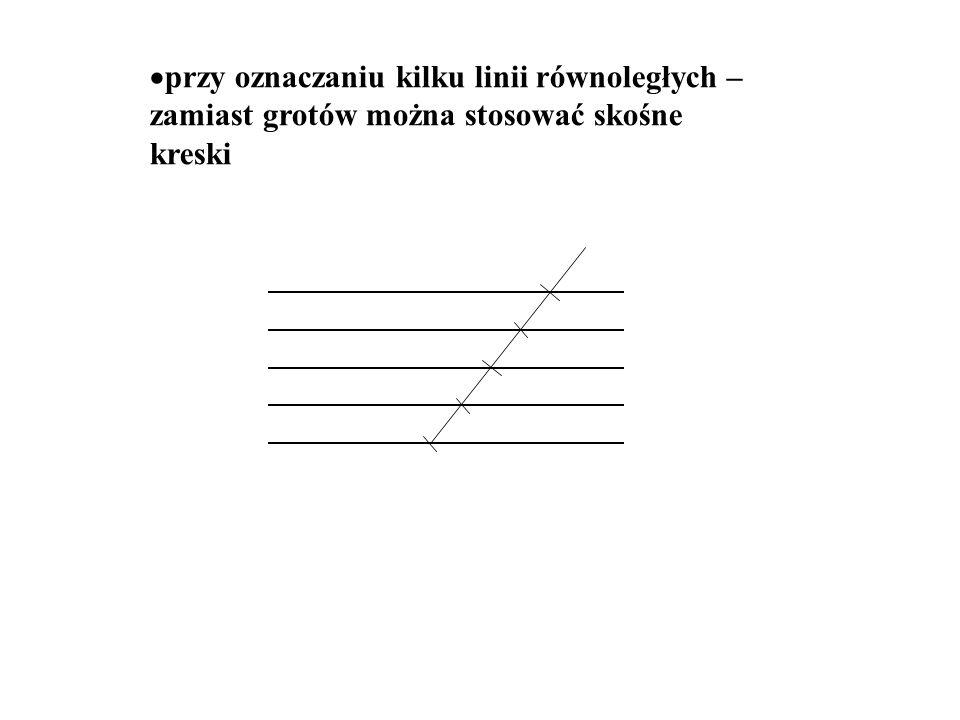 przy oznaczaniu kilku linii równoległych – zamiast grotów można stosować skośne kreski