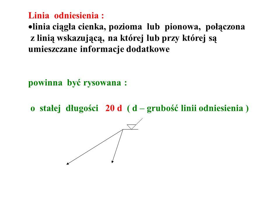 Linia odniesienia : linia ciągła cienka, pozioma lub pionowa, połączona.