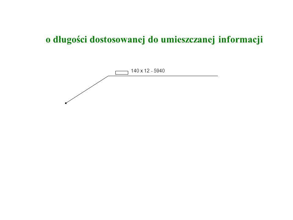 o długości dostosowanej do umieszczanej informacji