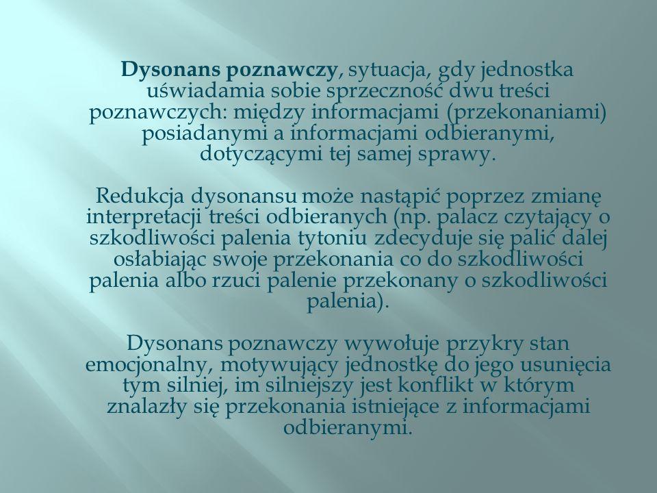 Dysonans poznawczy, sytuacja, gdy jednostka uświadamia sobie sprzeczność dwu treści poznawczych: między informacjami (przekonaniami) posiadanymi a informacjami odbieranymi, dotyczącymi tej samej sprawy.