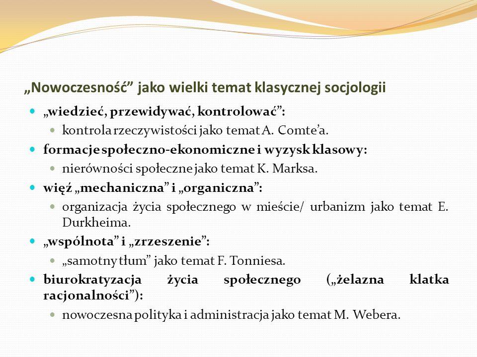 """""""Nowoczesność jako wielki temat klasycznej socjologii"""