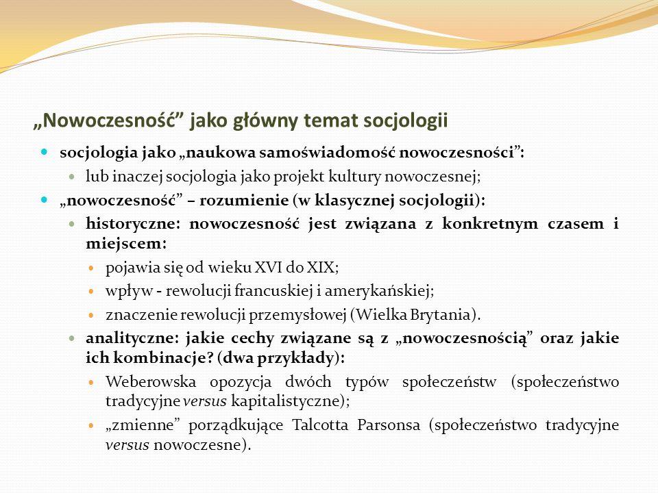 """""""Nowoczesność jako główny temat socjologii"""