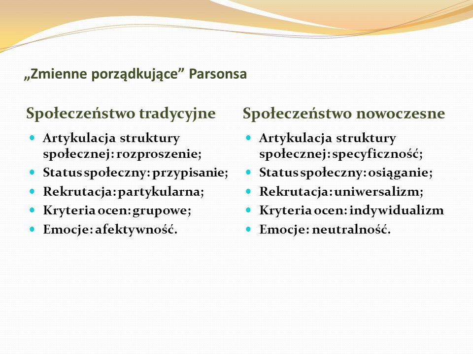 """""""Zmienne porządkujące Parsonsa"""