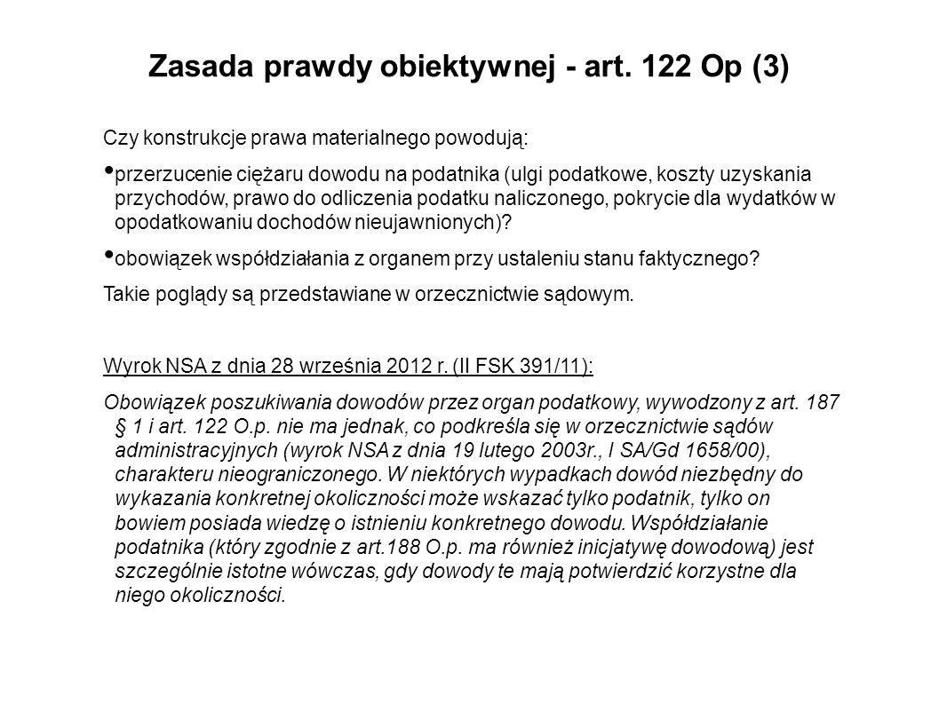 Zasada prawdy obiektywnej - art. 122 Op (3)