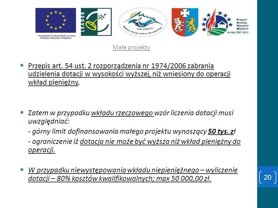 - górny limit dofinansowania małego projektu wynoszący 50 tys. zł