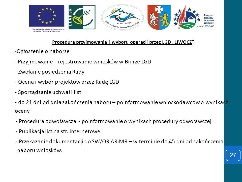 """Procedura przyjmowania i wyboru operacji przez LGD """"LIWOCZ"""