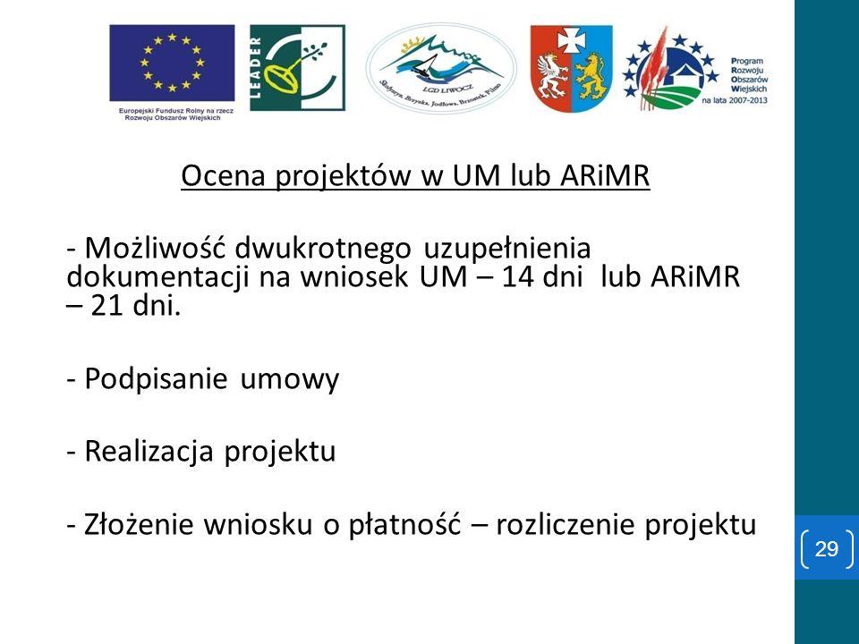 Ocena projektów w UM lub ARiMR