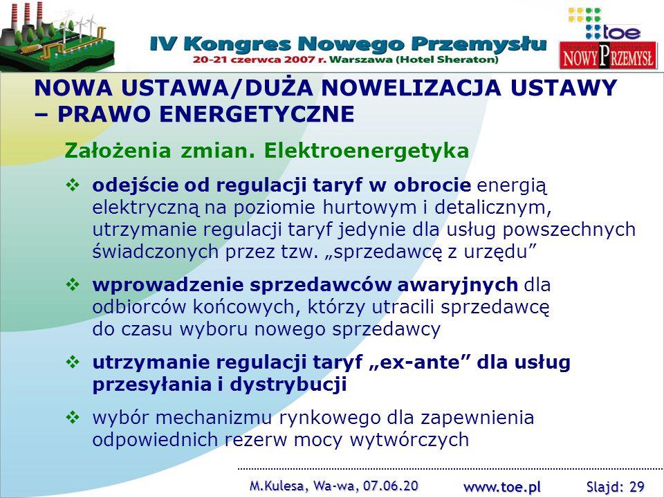 NOWA USTAWA/DUŻA NOWELIZACJA USTAWY – PRAWO ENERGETYCZNE