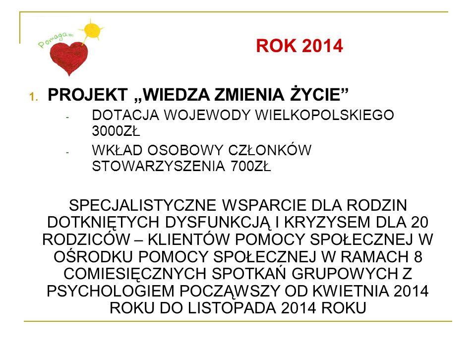 """ROK 2014 PROJEKT """"WIEDZA ZMIENIA ŻYCIE"""