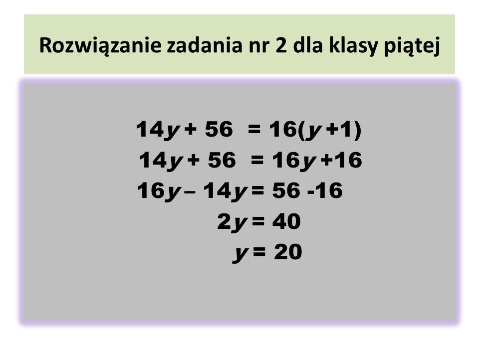 Rozwiązanie zadania nr 2 dla klasy piątej