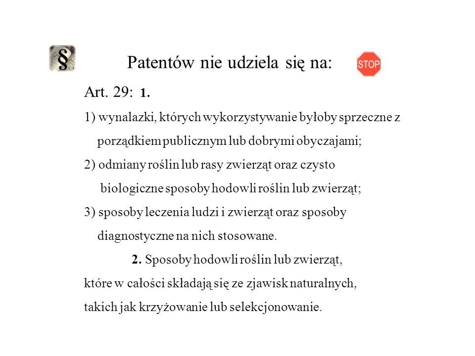 Patentów nie udziela się na: