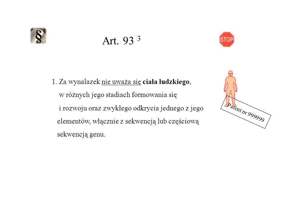 Art. 93 3 1. Za wynalazek nie uważa się ciała ludzkiego,