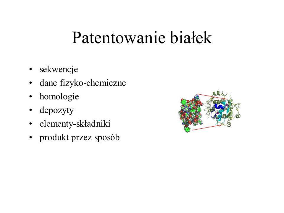 Patentowanie białek sekwencje dane fizyko-chemiczne homologie depozyty
