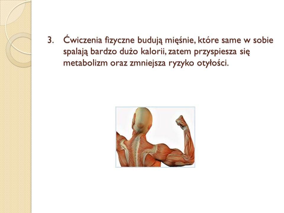 Ćwiczenia fizyczne budują mięśnie, które same w sobie spalają bardzo dużo kalorii, zatem przyspiesza się metabolizm oraz zmniejsza ryzyko otyłości.