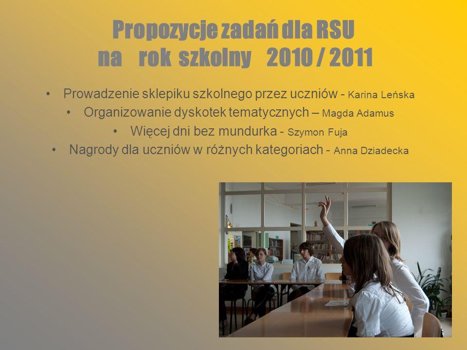 Propozycje zadań dla RSU na rok szkolny 2010 / 2011