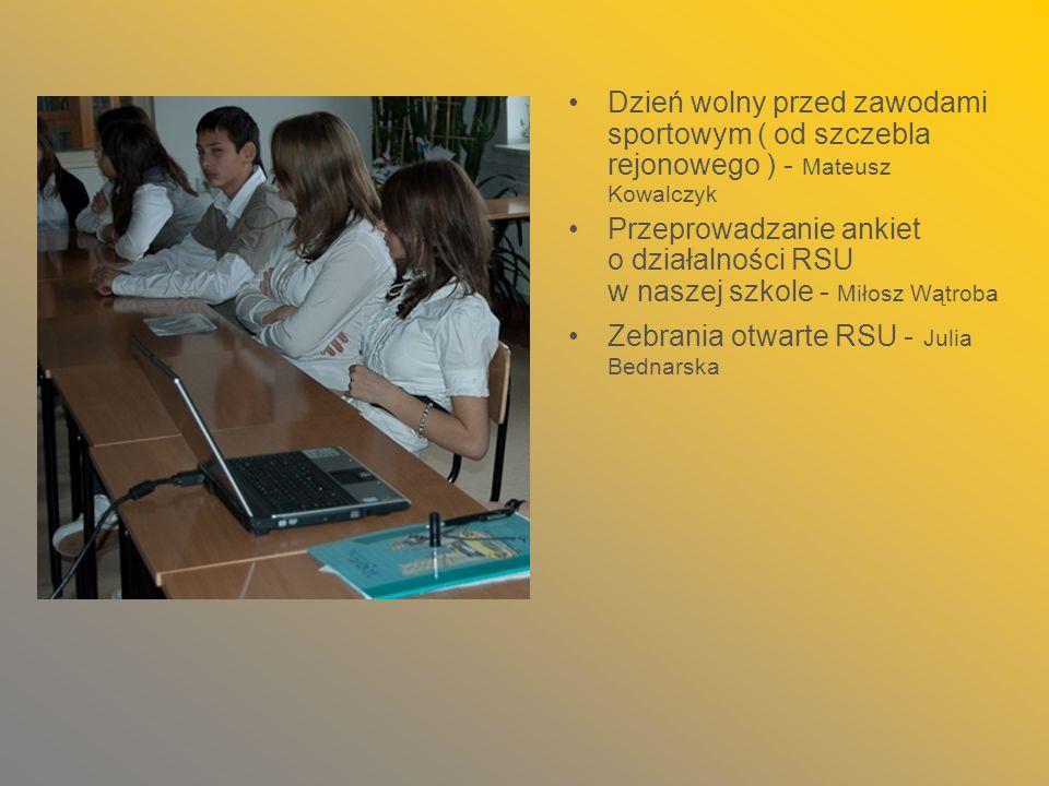 Dzień wolny przed zawodami sportowym ( od szczebla rejonowego ) - Mateusz Kowalczyk
