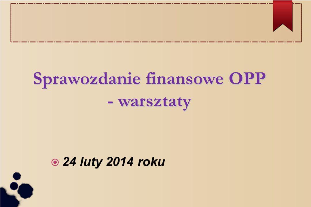 Sprawozdanie finansowe OPP - warsztaty