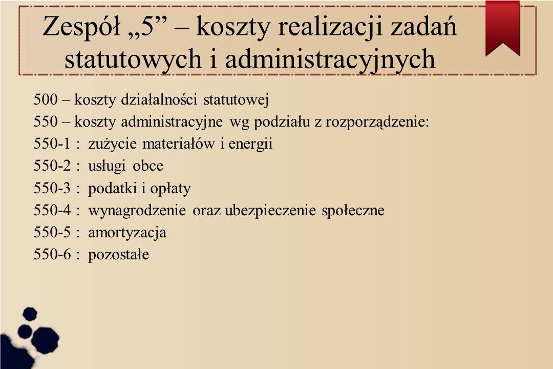 """Zespół """"5 – koszty realizacji zadań statutowych i administracyjnych"""