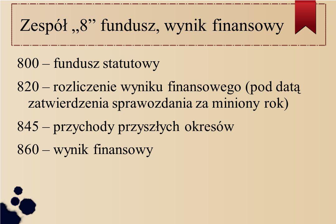"""Zespół """"8 fundusz, wynik finansowy"""