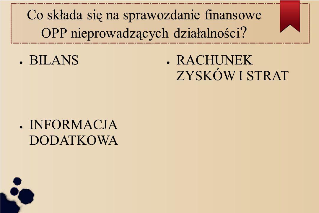 Co składa się na sprawozdanie finansowe OPP nieprowadzących działalności