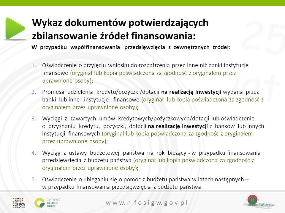 Wykaz dokumentów potwierdzających zbilansowanie źródeł finansowania: