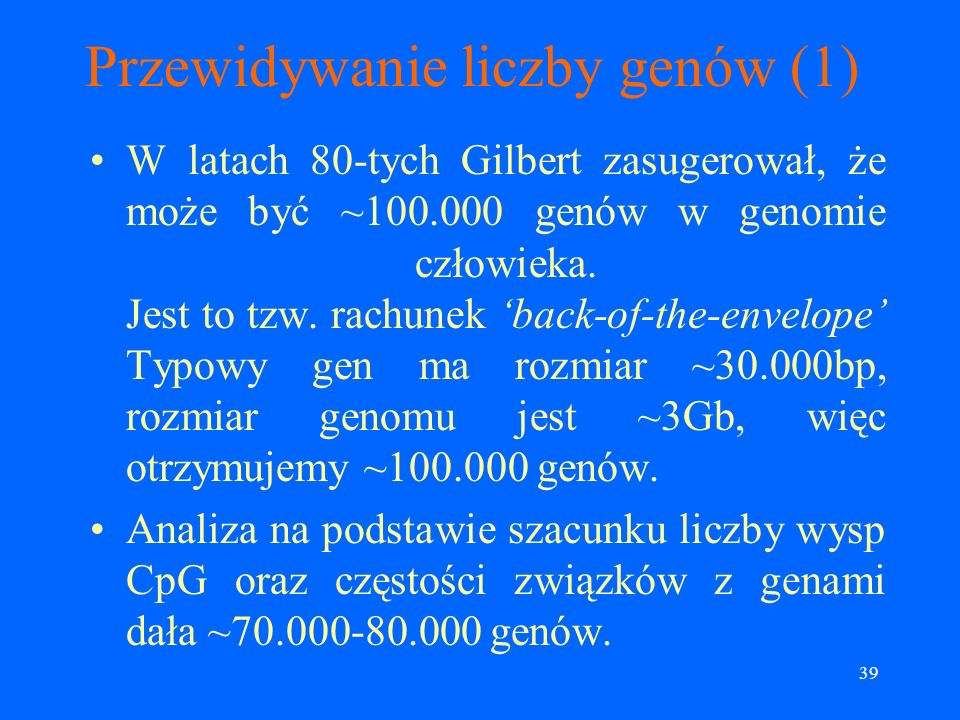 Przewidywanie liczby genów (1)