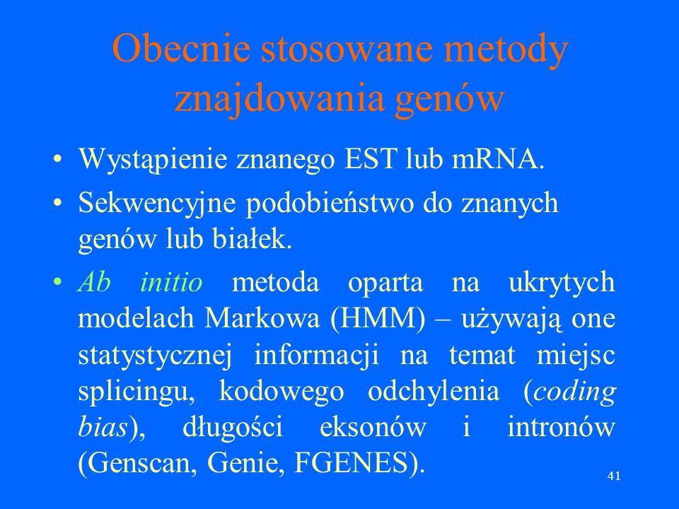 Obecnie stosowane metody znajdowania genów