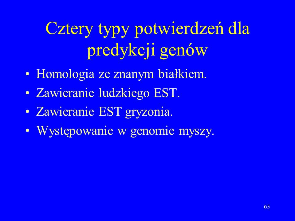 Cztery typy potwierdzeń dla predykcji genów